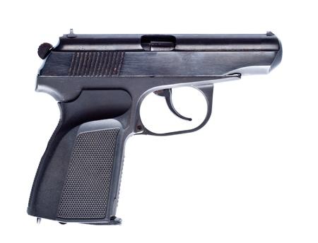 black vintage pistol isolated on white Stock Photo - 8477388