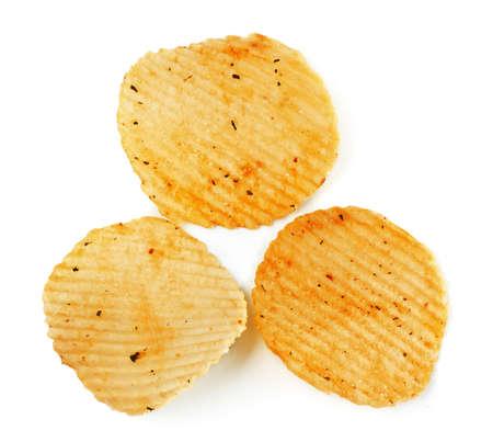potato chips isolated on white photo