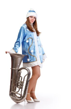 funny santa girl with big trumpet Stock Photo - 8533593