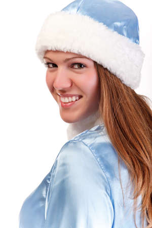 pretty santa girl portrait isolated on white Stock Photo - 8562341