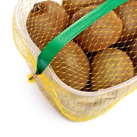 kiwi basket, white background Stock Photo - 8562320