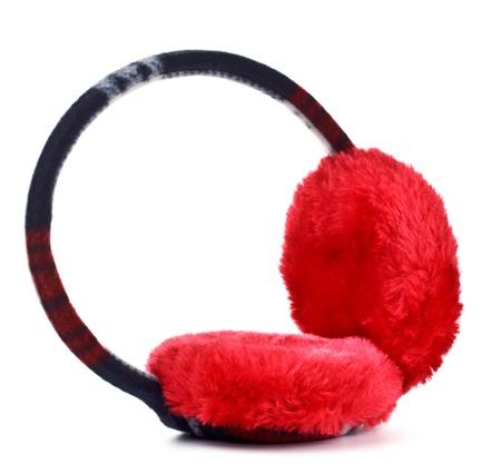 earmuff: red winter earmuff isolated on white background