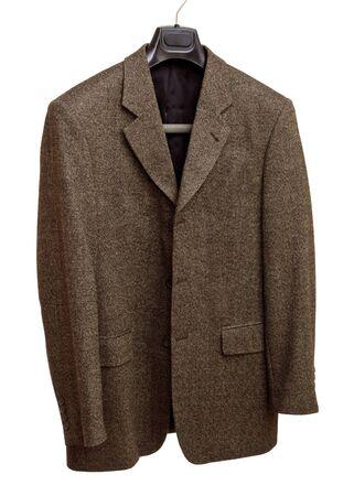 hanger with gray jacket isolated on white background photo