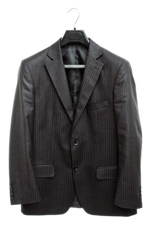 hanger with black jacket isolated on white background Stock Photo