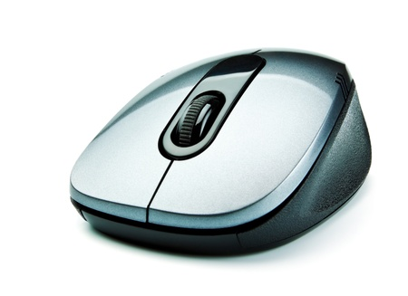 photo of accessories: wireless computer mouse isolated on white background