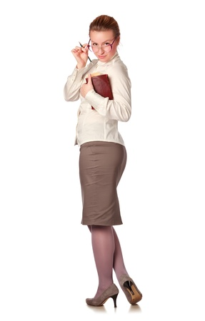 sexy teacher: strict teacher with book and pen isolated on white Stock Photo