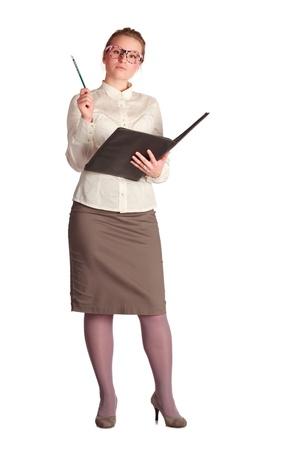 educacion sexual: Profesor estricto con libro de clase aislado en blanco