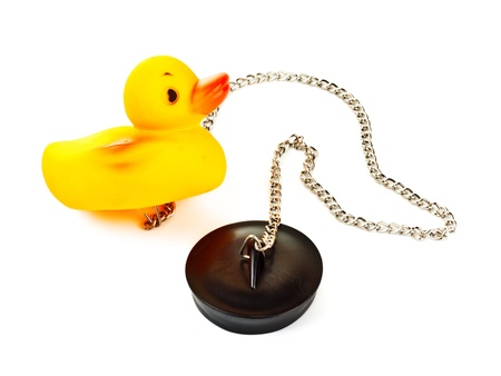 toy duck with plug for bath with chain isolated on white Stock Photo - 8630802