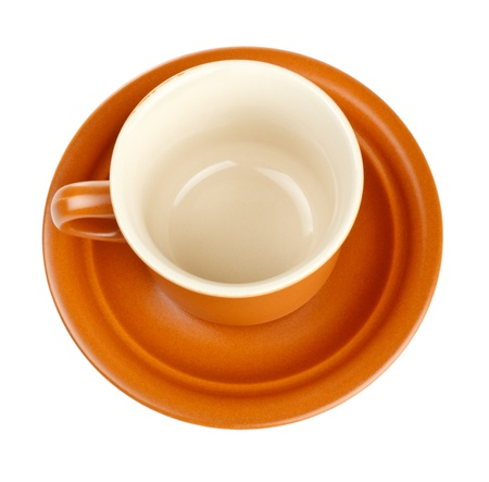 coffee cup and saucer isolated on white photo