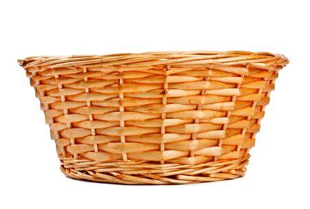 empty basket: empty wooden basket isolated on white background Stock Photo