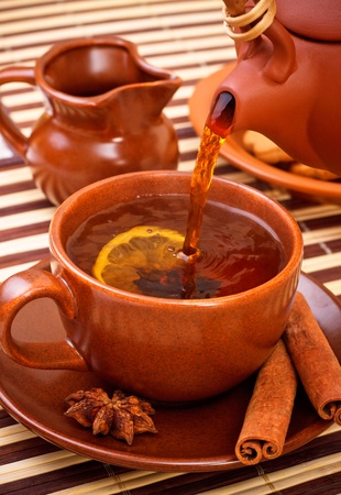 cup of winter tea with cinnamon and star anise on bamboo napkin photo