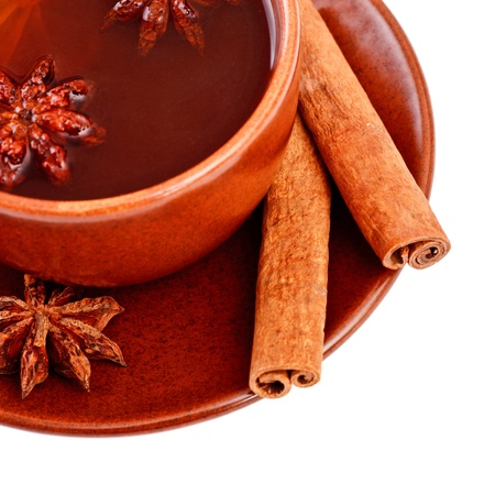 cup of tea with cinnamon sticks and star anise Stock Photo - 8698547