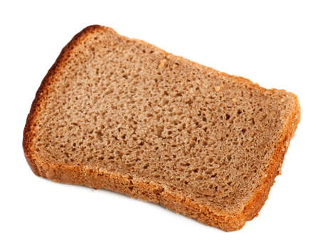 enriched: slice of rye bread isolated on a white background
