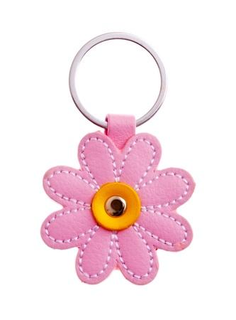 childish flower keychain isolated on white background photo