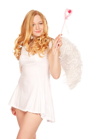 angel blond woman with magic wand isolated on white Stock Photo - 8787121