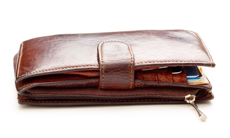 billfold: brown leather billfold isolated on white background
