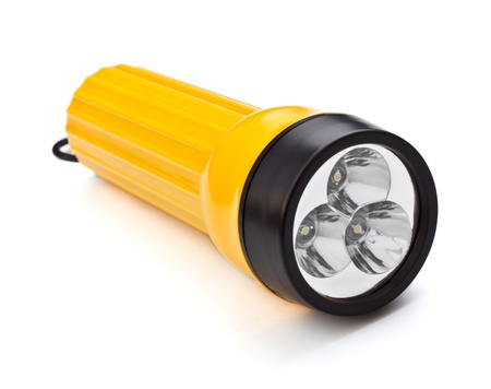 electric pocket flashlight isolated on white background
