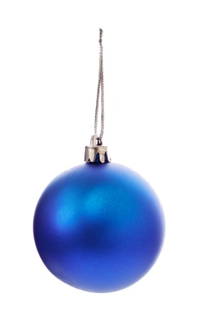 christmas ball isolated: blue christmas ball isolated on white background Stock Photo