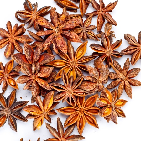 mahy star anise isolated on white background