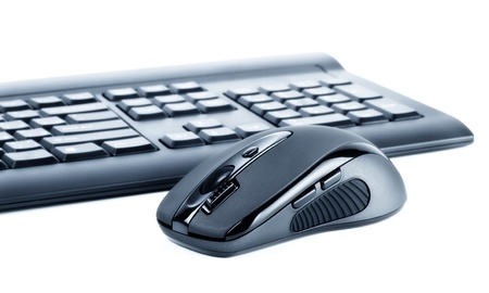 wireless black set mouse and computer keyboard isolated on white Stock Photo