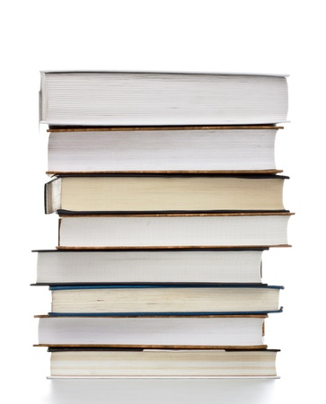 text books: high stack of books isolated on white Stock Photo
