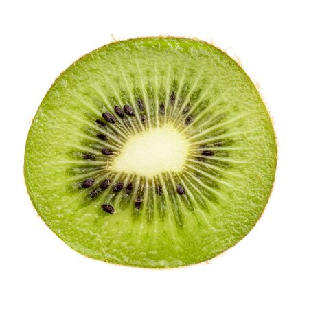 fresh green kiwi slice isolated on white, closeup photo