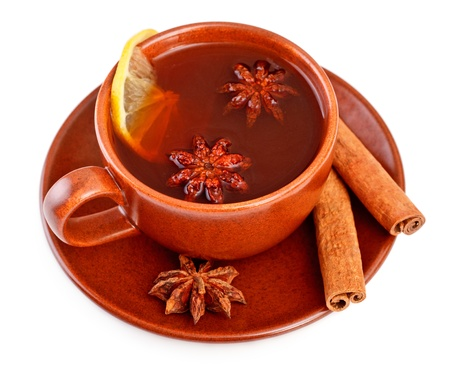 cup of tea with cinnamon sticks and star anise