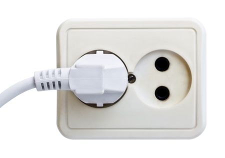 standart outlet with plug isolated on white Stock Photo - 8934280
