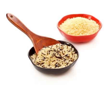 two bowls with rice and wooden spoon Stock Photo - 9040395