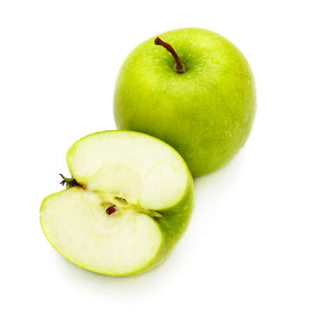 fresh green apples isolated on white background photo