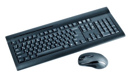 computer keyboard keys: wireless black set mouse and computer keyboard isolated on white Stock Photo