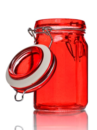 empty glass jar for spice isolated on white Stock Photo - 9141112