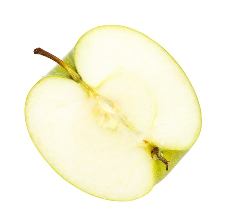 fresh green apple half isolated on white background Stock Photo