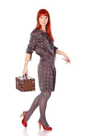 extravagant woman with suitcase isolated on white Stock Photo - 9183789