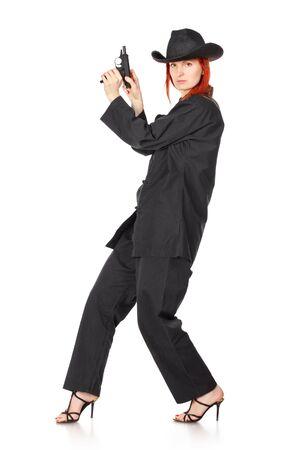 woman in black kimono with gun, isolated on white Stock Photo - 9183395
