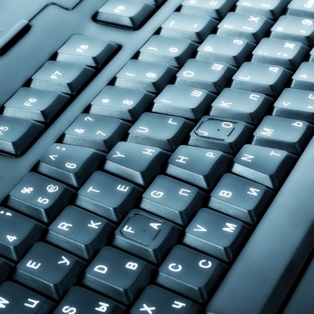function key: part of black keyboard, close up view Stock Photo