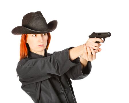 woman in black kimono aims with gun, isolated on white Stock Photo - 9477247