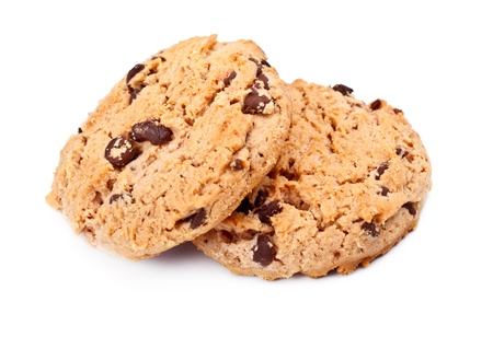 oatmeal chocolate chip cookies, isolated on white photo