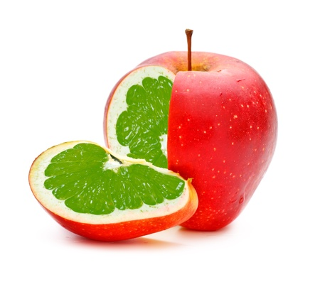 transgenic: red apple with lime fillings, genetically modified organism