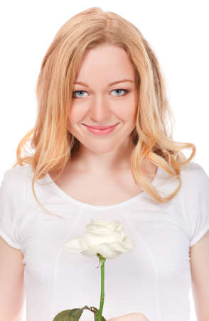 portrait of pretty smiling woman with white rose photo
