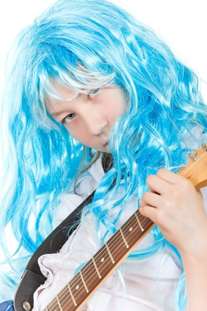 teenager girl rockstar in blue wig, isolated on white Stock Photo - 9568698