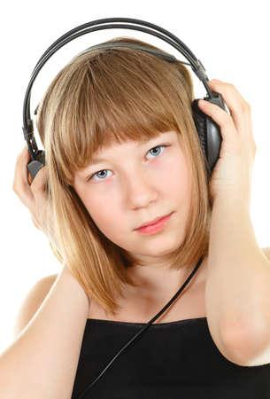 teenager girl in headphones, isolated on white Stock Photo - 9568742