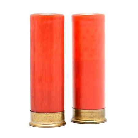 red shotgun cartridges isolated on white background photo