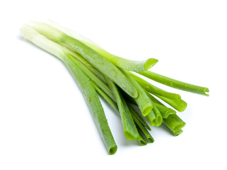 odorum: fresh green onions isolated on white background