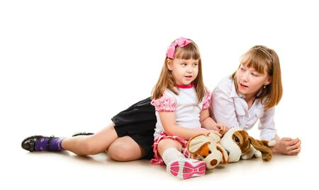 cute little sisters portrait, close up, isolated on white Stock Photo - 9654441