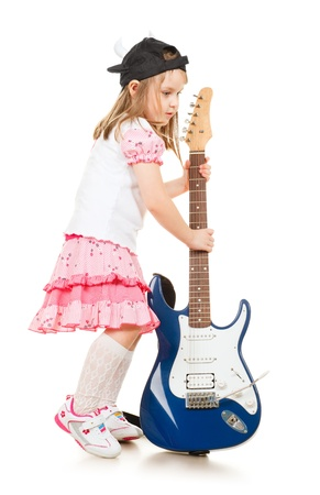 cute little girl with guitar, isolated on white Stock Photo - 9654100