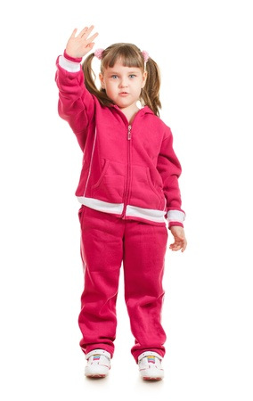 cute little sport girl waving, isolated on white Stock Photo - 9654099