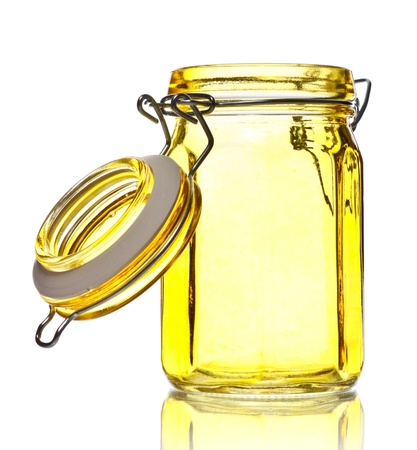glass containers: empty glass jar for spice isolated on white Stock Photo