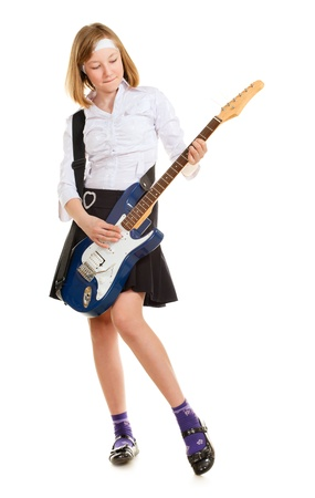 teen girl playing on a guitar, isolated on white Stock Photo - 9654107