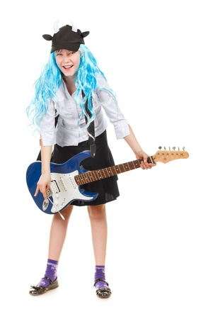 teenager girl rockstar in blue wig, isolated on white photo